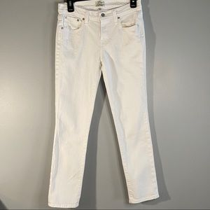 J. Crew slim broken in boyfriend white jeans 25